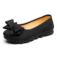 春秋夏季布鞋女鞋单鞋黑色工作鞋豆豆鞋软底舒适41大码