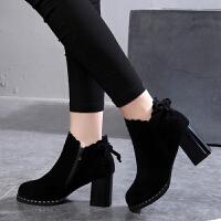201909230412451422019韩版新款英伦及踝靴百搭女靴高跟短靴女鞋秋冬季马丁粗跟裸靴