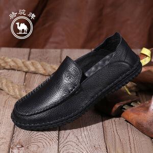 骆驼牌男鞋 新品软底套脚休闲皮鞋男手工缝制低帮鞋