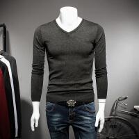 秋冬秋季青年毛衣修身型V领韩版套头长袖休闲男士常规针织衫