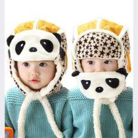 儿童帽子宝宝冬天帽子熊猫口罩男女童秋冬 婴儿帽子冬季 宝宝冬天帽子熊猫口罩