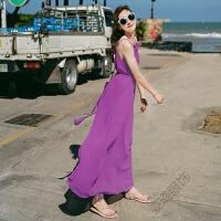 夏季连衣裙雪纺吊带宽松海边度假海滩长裙波西米亚沙滩裙 均码