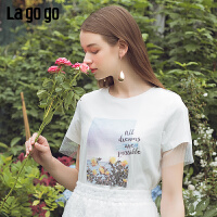 【清仓5折价89】Lagogo/拉谷谷2019夏季新款字母印花网纱短袖T恤女IATT314F77