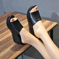 女士一字拖鞋女夏外穿凉拖鞋新款时尚百搭坡跟凉鞋厚底防滑鱼嘴鞋