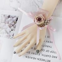 手腕花伴娘 手腕花伴娘姐妹团手花新娘闺蜜手环韩式结婚演出晚会礼服配饰 粉红色 手花