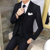 四季男士潮流韩版修身纯色职业正装西服三件套青年大码西装套装