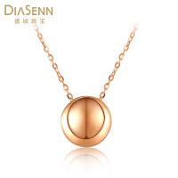 德诚珠宝18K金项链 圆形几何彩金套链女款 锁骨链项链 送女友礼物