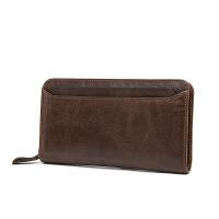 男士手包驾驶证钱包一体钱包男士商务手拿包多卡位长款钱包头层牛皮男士手包 咖啡
