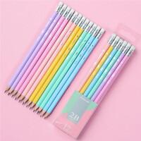 马可9018马卡龙铅笔 HB/2B彩色三/六角杆学生写字绘画铅笔 12支装