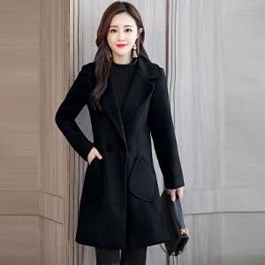 纤纯伊新款中长款时尚百搭韩版气质修身显瘦加厚呢子大衣