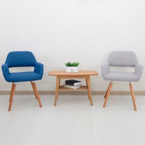 欧式实木餐椅布艺餐桌椅子简约靠背椅书桌木质扶手咖啡椅