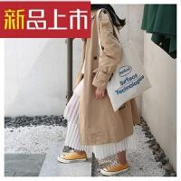 单肩帆布包女韩版学生帆布袋单肩韩简约原宿风 白色+单肩拉链 有拉链 有内袋