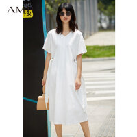 【AMII 超级品牌日】Amii[极简主义] 2017夏装新款宽松V领落肩绑带休闲连衣裙11772338