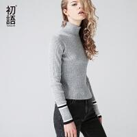 初语 2017秋季新款 简约高领撞色条纹修身毛衣女针织衫