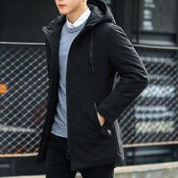 外套男士棉衣冬季2018新款韩版潮中长款棉袄衣服秋冬男装羽绒 黑色(518) S