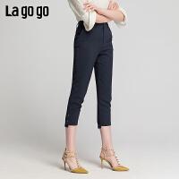 Lgogo/拉谷谷2019夏季新款高腰脚口开衩通勤长裤女IAKK334F63