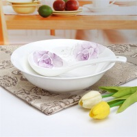 [当当自营]SKYTOP斯凯绨 陶瓷高档骨瓷餐具 香水百合9英寸汤碗+大条羹