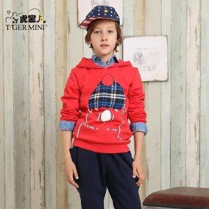 男童秋装套装 儿童小熊加绒加厚两件套中大童韩版小虎宝儿童装潮