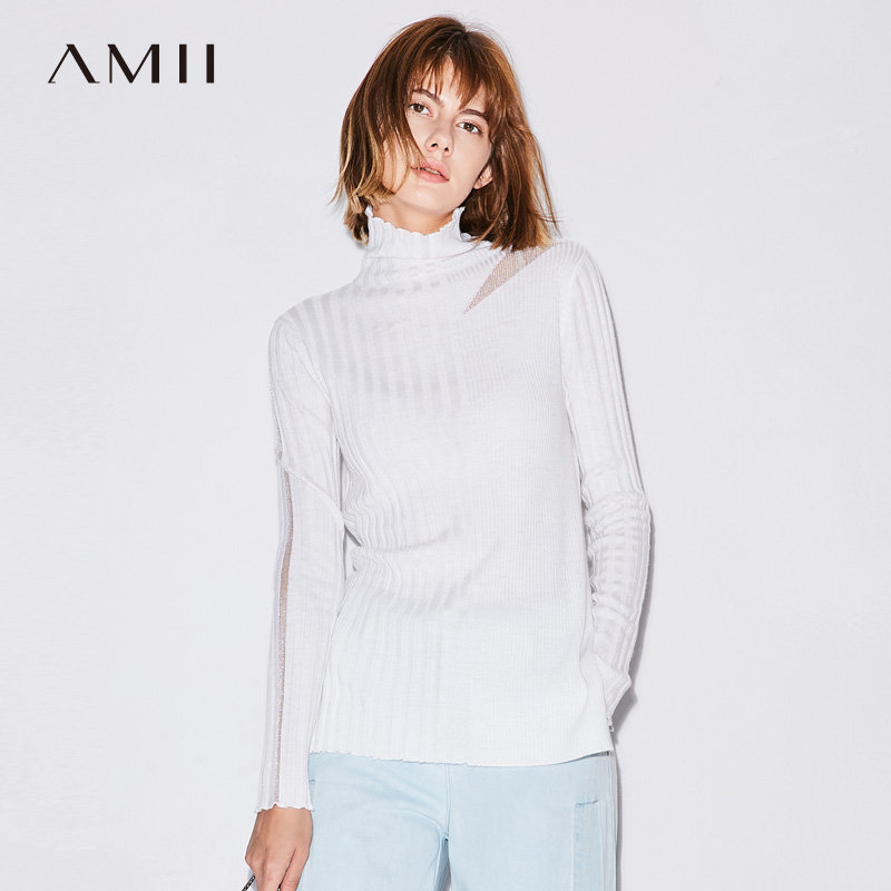 【品牌团 1件7折/2件5折】Amii[极简主义]秋装2017新款女纯色高领修身透视针织毛衣11772926