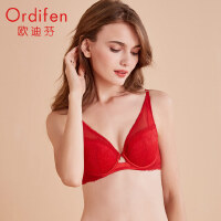 欧迪芬商场同款 女士内衣深V性感薄款胸罩蕾丝网纱聚拢文胸OB9341