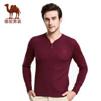 骆驼男装 新款时尚V领青年商务休闲绣标合身长袖T恤衫男