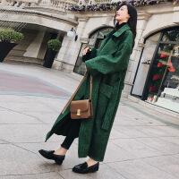 森系格子毛呢大衣女2018秋冬新款韩版中长款流行赫本风呢子外套潮 绿格 S