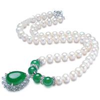 珍珠项链 送妈妈婆婆 近圆强光淡水珍珠 玛瑙项坠女士附证书