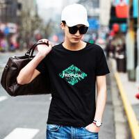 点就 纯棉短袖t恤男圆领宽松夏季韩版潮印花打底衫上衣VZTX17002