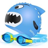 �和�泳�R高清防�F防水小孩男女童大框游泳眼�R泳帽套�b