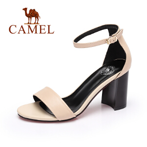 Camel/骆驼女鞋 春夏新品通勤高跟凉鞋优雅舒适粗跟一字扣凉鞋