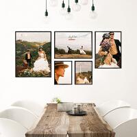 婚纱照大相框挂墙照片三组合放大48寸定制摆台客厅卧室北欧照片墙 极窄边框+水晶照片