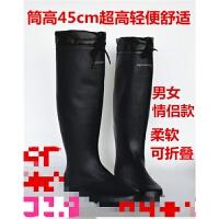 男女情侣可折叠超高时尚轻便高筒橡胶防滑款插秧靴 雨鞋水鞋套鞋