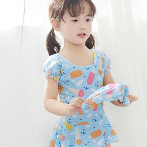 Yinbeler女童女婴冰淇淋小花连体泳衣泳裙