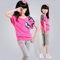 女童夏装2017韩版新款纯棉短袖套装中大儿童运动休闲两件套