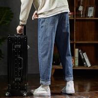 【1折价46.9元】唐狮春季新款牛仔裤男宽松直筒小哈伦牛仔长裤子男士韩版潮