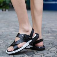 新款�鲂�男鞋夏季潮流�n版�r尚休�e鞋男士透��敉�鲂� �p便防滑沙�┬�搭扣透�饴吨汉竦�