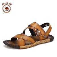 骆驼牌男鞋 夏季新品 日常休闲牛皮透气鞋沙滩鞋子