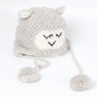 秋冬撞色厚款男女童针织毛线毛球猫咪帽子