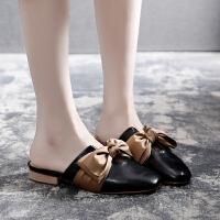 无后跟懒人鞋女夏凉鞋平底包头凉拖特大码女鞋肥宽胖脚41-43半拖