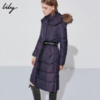 Lily秋冬新款女装系腰带可拆卸帽毛领中长款羽绒服118440D1543