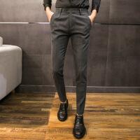 发型师裤子男冬季小脚西裤男加绒加厚休闲裤男士修身韩版潮流秋季 灰色 28