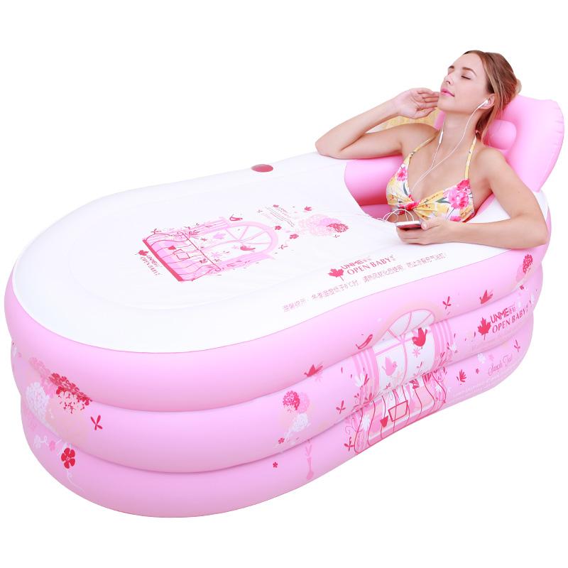 折叠浴盆家用卫生间全身可坐躺大号加厚塑料简易充气浴缸泡澡