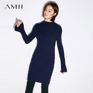 Amii[极简主义]2017秋装新款简洁时尚半高领喇叭袖毛衣女11743424