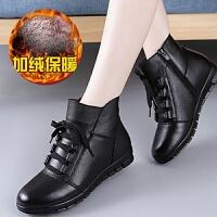 牛皮加绒保暖新款妈妈女棉鞋冬季短女靴软底一脚蹬中年平底鞋 201黑色棉鞋