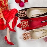 红色新娘鞋5-7厘米高跟鞋尖头单鞋水钻性感气质仙女风5cm舒适婚鞋