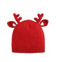 儿童帽子宝宝套头帽婴儿双层针织帽男女童红色圣诞帽