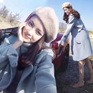 ulzzang毛呢外套冬装新款中长款原宿风小个子毛呢子大衣外套女