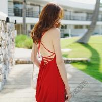 夏季吊带连衣裙露背沙滩裙波西米亚海边度假长裙女 红色