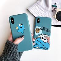 莫兰迪色芝麻街苹果X手机壳iPhone xs max/8plus/7/xr软套6s男女 xs tpu 一只芝麻街蓝色