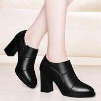 高跟鞋女粗跟2019春秋新款深口单鞋女韩版尖头百搭中跟女鞋子 黑色